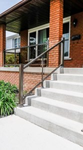 Brampton residence railings with glass