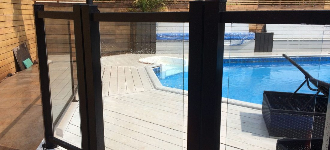 Pool Black Fence With Glass Inserts