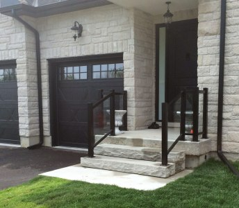 Porch Black Aluminum Railing with Clear Glass Inserts